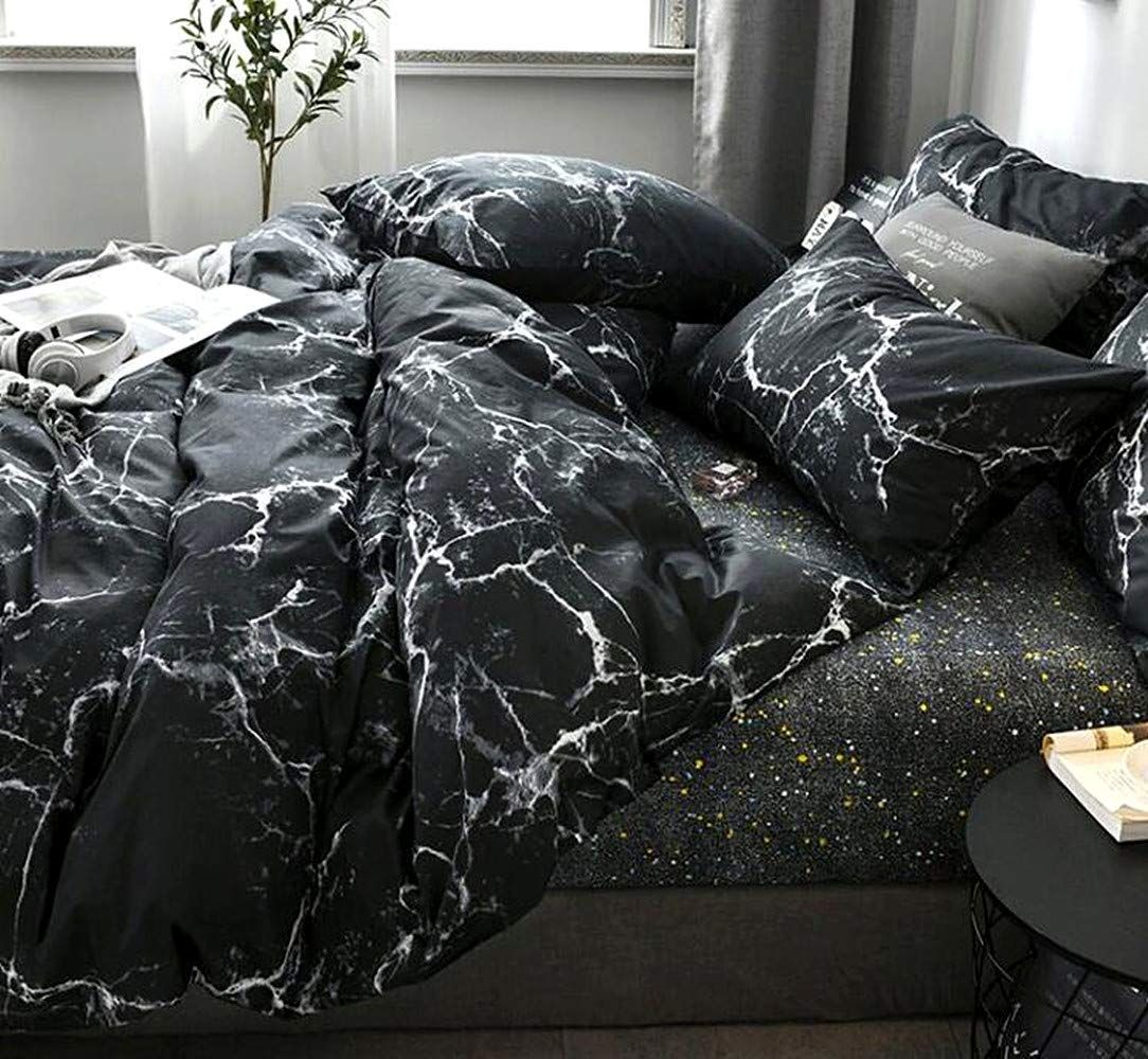 Jumeey Black Marble Bedding Set Twin Boys Black And White Abstract Texture Duvet Cover Set With Zipper Ties Black Bedding Marble Bed Set Grey And White Bedding