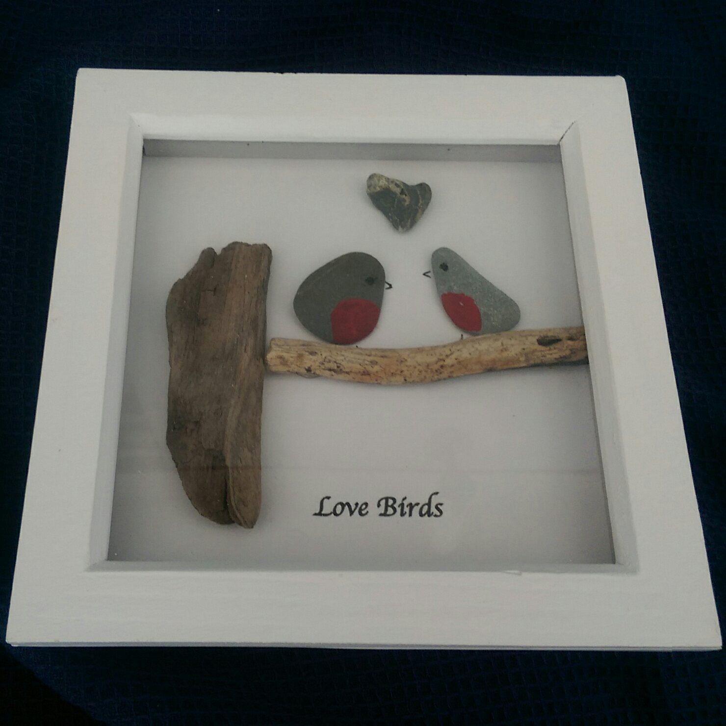 Arte hecha a mano guijarros de Cornualles Arte de piedra original en ...