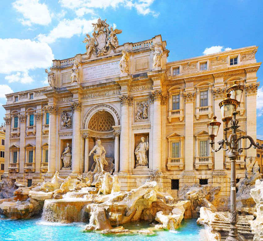 Fountain di Trevi - most famous Rome's fountains in the world. Italy.   |   Amazing Photography Of Cities and Famous Landmarks From Around The World