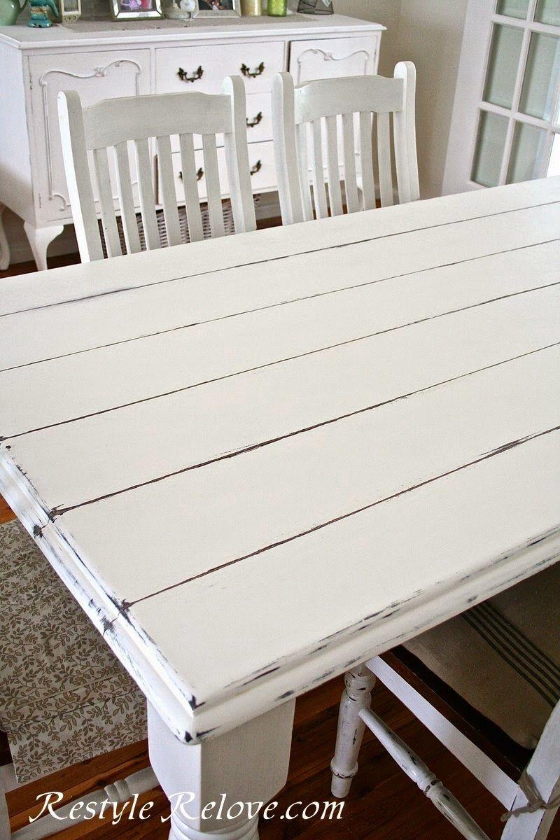 Faux Plank Farmhouse Table White Farmhouse Table Farmhouse Dining Table Painted Dining Table