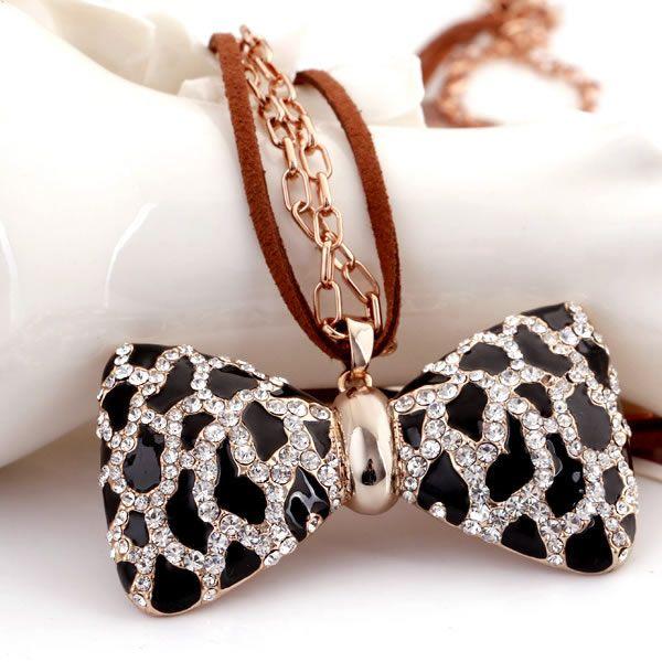 Zinklegierung Pullover Halskette, mit Wollschnur, mit Verlängerungskettchen von 1.5Inch, Schleife, plattiert, Oval-Kette & Emaille & mit Str...