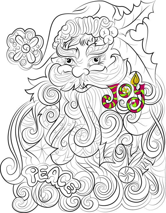 Santa Claus colouring page Peace Love Joy Christmas by ...