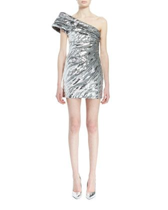 One-Shoulder+Pleated+Metallic+Mini+Dress,+Silver+by+Saint+Laurent+at+Neiman+Marcus.