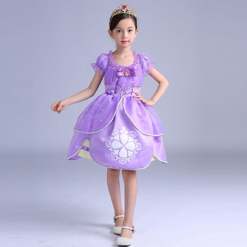 New Top quality cotton girl dress sofia princess purple Fluffy dress ...