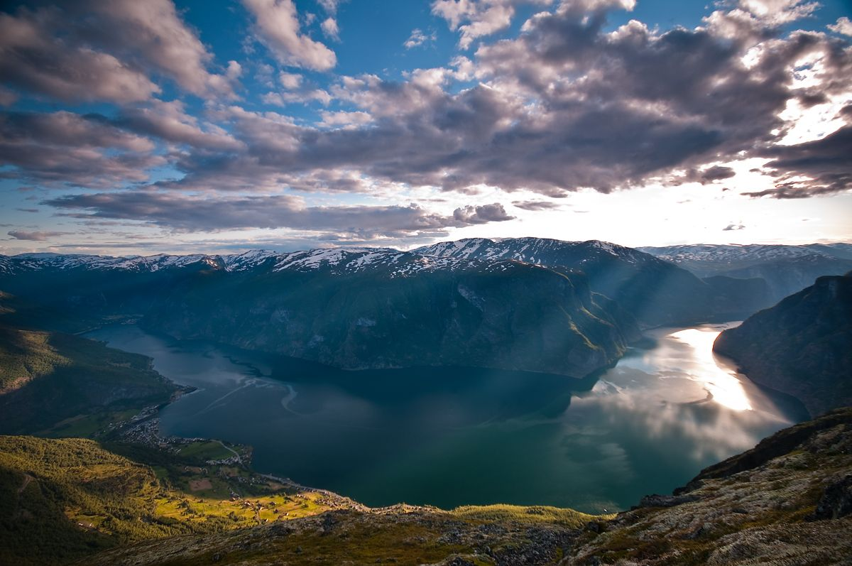Sunset over Aurland Fjord, Norway