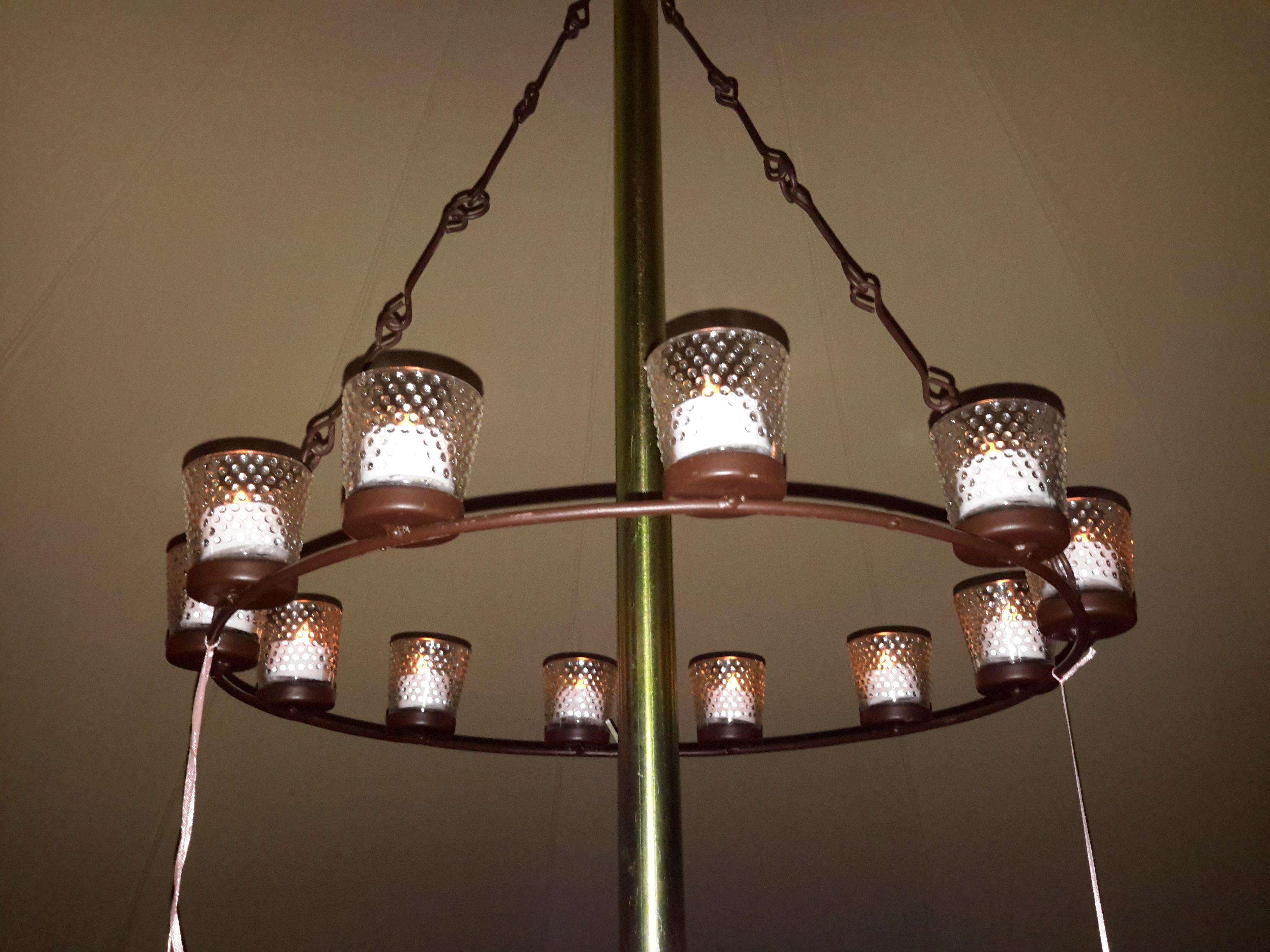 Bell tent single tier chandelier with flickering LED tea lights. 12 ...