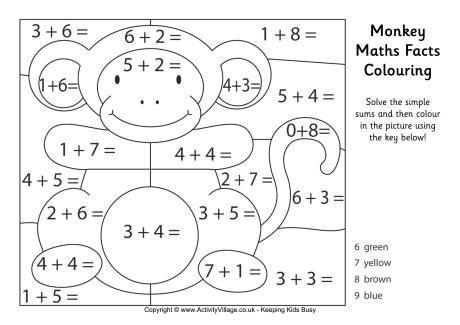 basic addition coloring pages | Monkey maths facts colouring page | Math facts, Free math ...