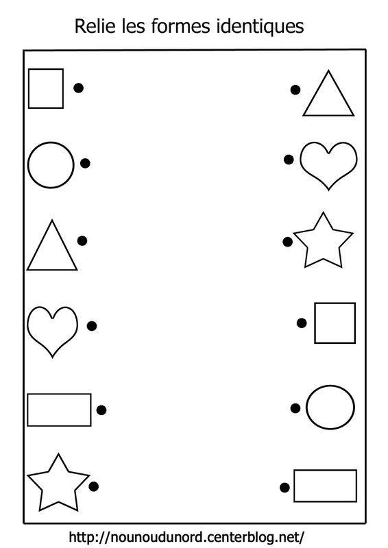 Relie les formes identiques math pinterest la forme - Coloriage des formes ...