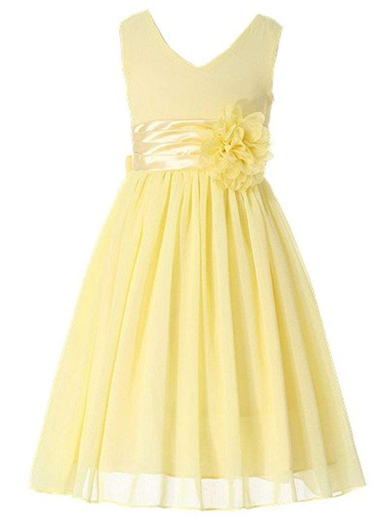 Junior Bridesmaids V Neckline Chiffon Flower Girl Dress Yellow Cy12hp3u9on Yellow Flower Girl Dresses Chiffon Flower Girl Dress Jr Bridesmaid Dresses Yellow [ 1024 x 768 Pixel ]