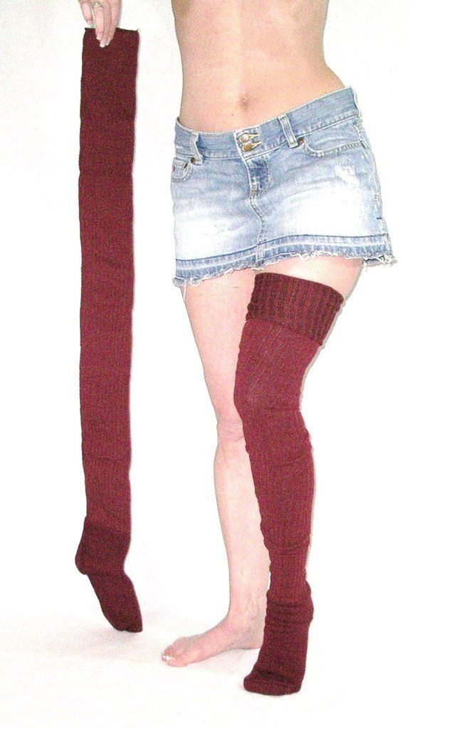 47d6358ae1dc5 Super Long Thigh High Socks Burgundy Wine Ribbed Thick Winter Over The Knee  Boot Socks 37