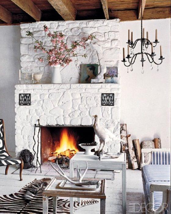 Via Elle Decor Fireplace White Kamin Design Kaminbau Eklektisches Wohnzimmer