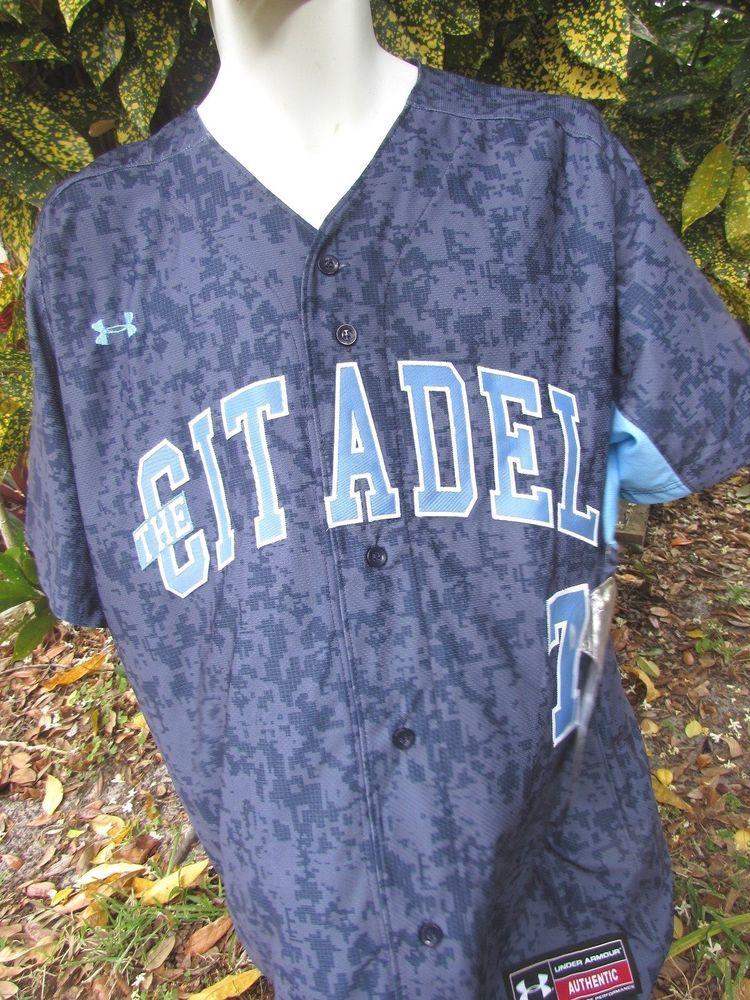 New Men's Under Armour Blue Camo Citadel Camo Jersey Replica Baseball Jersey 3X #underarmour #Citadel