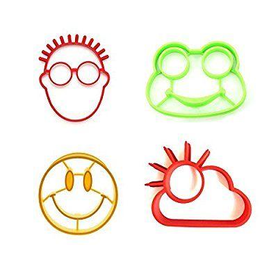 Somine 4er Set Spiegeleiform aus Silikon Eier-Former mit Motiv von Sunnyside, Frosch,Menschen und Lächeln Gesicht