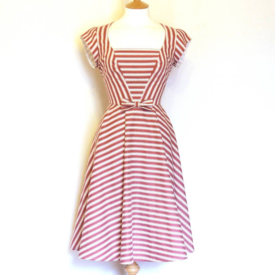striped heidi tea dress by dig for victory | notonthehighstreet.com ...