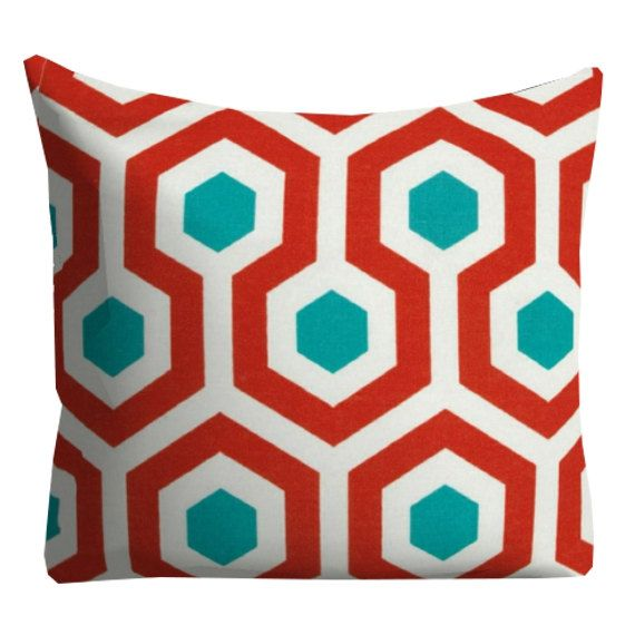 Red Outdoor Pillows Turquoise Outdoor Pillows Honeycomb Outdoor Pillows Red Turquoise Outdoor Pillow Pool Pillow