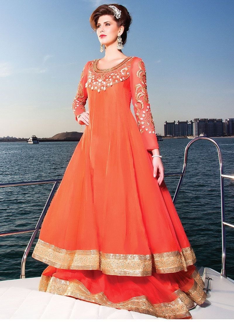 Signature orange pure georgette anarkali suit katalog pinterest