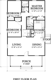 Image Result For Floor Plan 3 Bedroom 2 Bath 44x28 Southern Living House Plans House Plans Square House Floor Plans