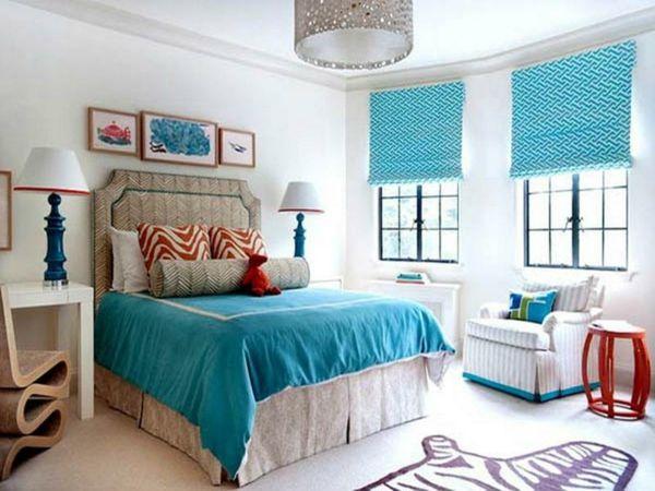 Schlafzimmer Türkis ~ Schlafzimmer mit blauer wandfarbe nuance türkis u