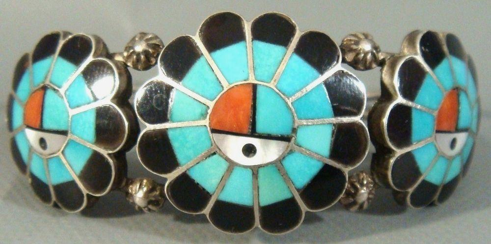*BURDIAN SOSEEAH* Zuni Sterling Silver & Multi Stone Inlay SUNFACE Cuff Bracelet #ZuniOldPawn