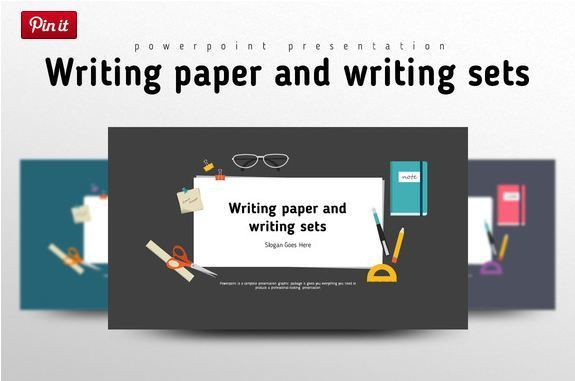 Cool Writing paper and Writing Sets PowerPoint background theme - powerpoint presentations template