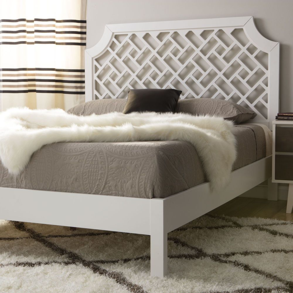 White Platform Queen Bed Wood Headboard Footboard Bedroom Furniture Modern New Trellisbed Mod Modern Bedroom Furniture Queen Size Bedding Bedroom Furniture
