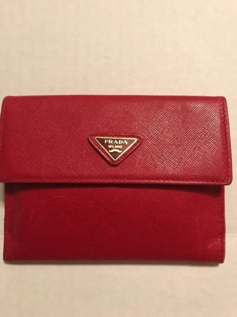 aa232e433810 EUC Vintage Auth Prada Red Saffiano Leather Trifold Wallet Made Italy | eBay