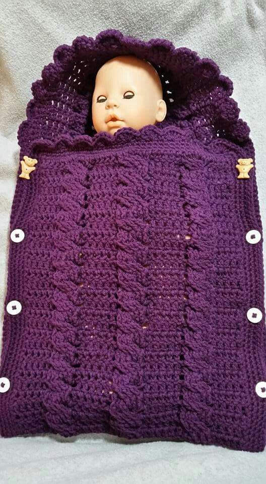 crochet cable stitch newborn baby bunting cocoon video | Stitched in ...