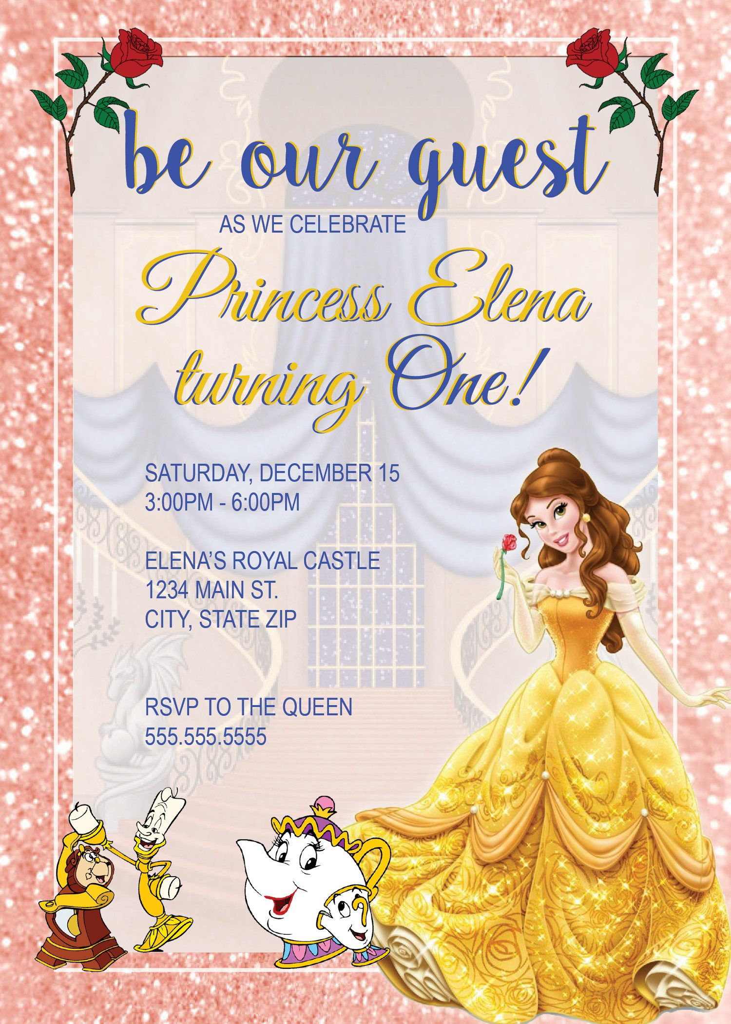 digital princess belle birthday party