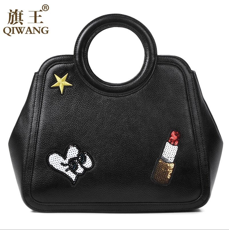 88.92$  Buy now - http://aliwn3.worldwells.pw/go.php?t=32720389525 - QIWANG 2016 new top quality women genuine leather bag fashion embroidery women handbags shoulder Messenger cowhide bag
