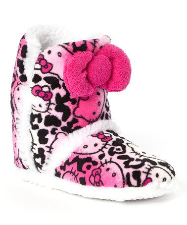 ee66bf289 Look what I found on #zulily! Hot Pink & Black Hello Kitty Bow Slipper Boot  - Kids #zulilyfinds