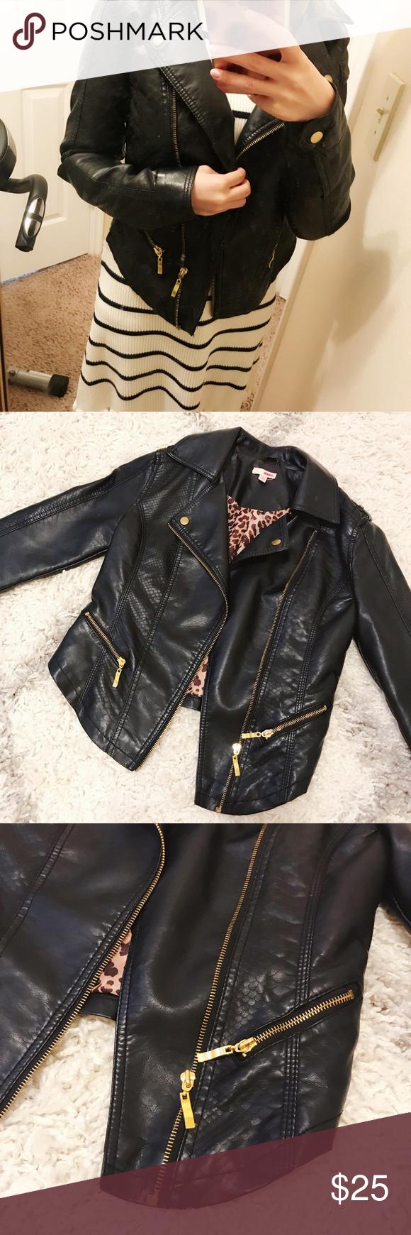Faux Mixed Leather Biker Jacket Gold Zipper Size S Leather Biker Jacket Gold Zipper Faux Leather Jackets [ 1740 x 580 Pixel ]