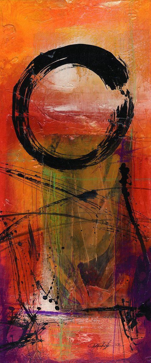Original Enso Zen Painting Throw Pillows: Enso.. Series ... No. Mm14.. Original Contemporary Mixed