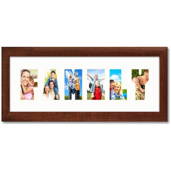 6x18 Modern Brown Picture Frame With Family Word Collage Mat... ($16 ...