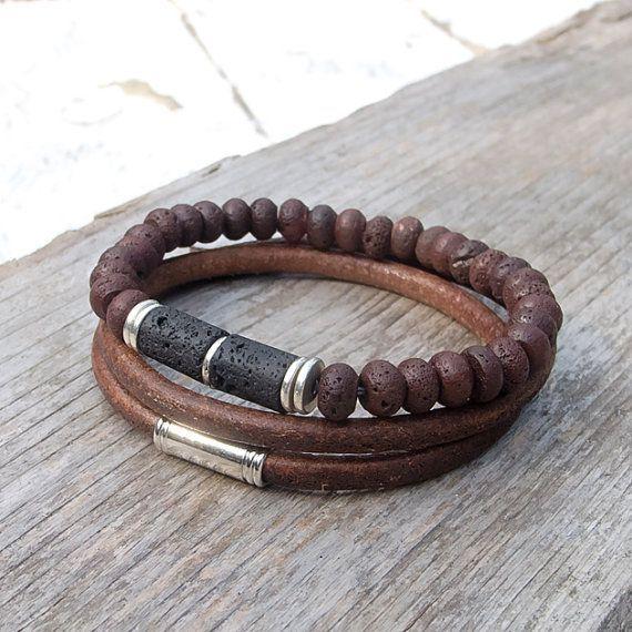 Leather bracelet set, Mens lava and leather bracelet set, Mala, Yoga, Meditation, Boho bracelet set for men - #and #Boho #Bracelet #for #lava #Leather #Mala, #Meditation, #Men #Mens #set #Yoga
