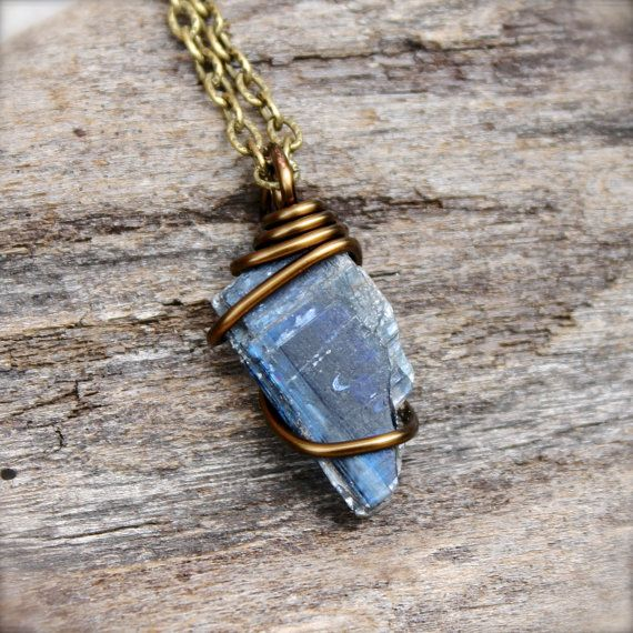 Photo of Raw Kyanite Necklace in Bronze – Rough Stone Jewelry for Men – Blue Crystal Pendant, Spiritual Gift Ideas, Occult, Oddities & Curiosities