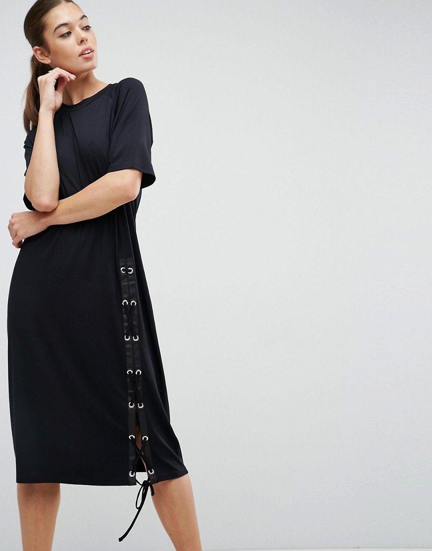asos - midi-hemdkleid mit schnürung - schwarz jetzt