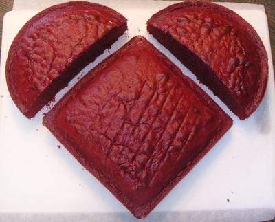 DIY Heart Cake:  Use a square and a round to get a heart shape.