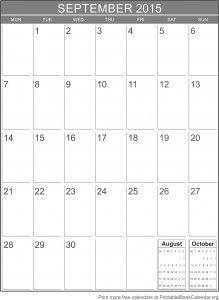 fillable calendar september 2015