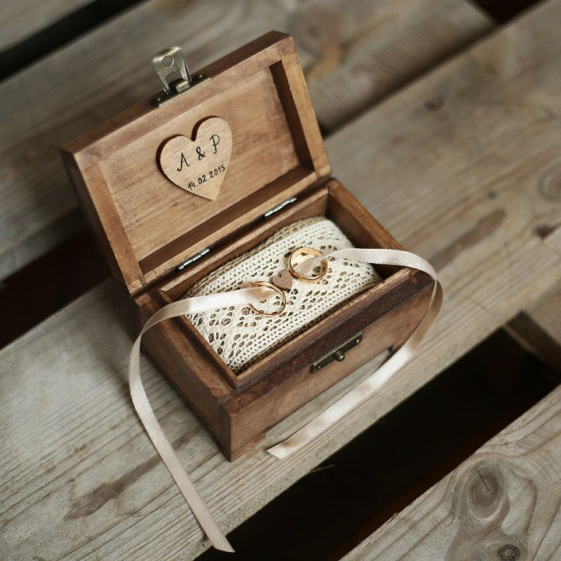 Personalized wedding ring box. Rustic wooden ring box. Rustic ring holder. Ring bearer.