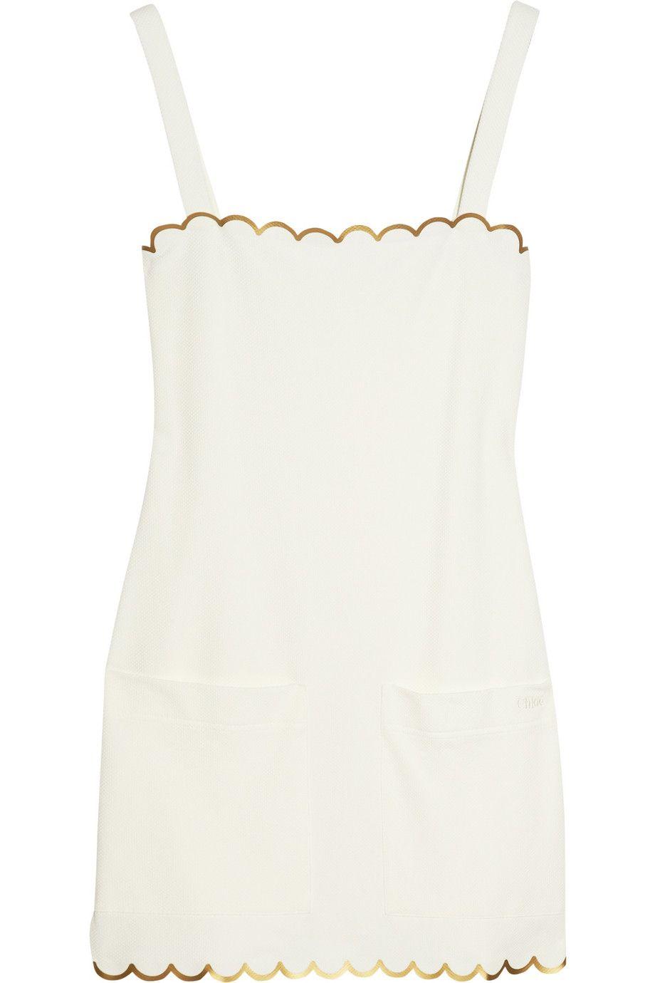 White Stretch Pique Mini Dress Chloe Fashion Fashion Obsession Fashionista [ 1380 x 920 Pixel ]