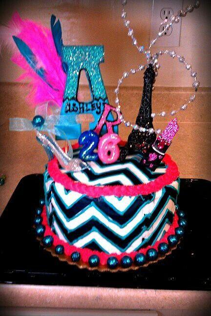 chevron birthday cake | Chevron/glitz birthday cake #personalpin | Cakes