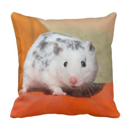 Cute Syrian Hamster White Black Spots Funny Pet On Throw Pillow Black And White Gifts Unique Special B W With Images Cute Pillows Throw Pillows White Diy Stuffed Animals