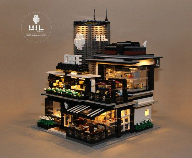 Lego modular moc uil cafe mingle with the night cool pinterest lego ideen lego und for Modernes lego haus