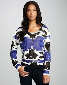 Townsen Shimmery Tribal-Print Top