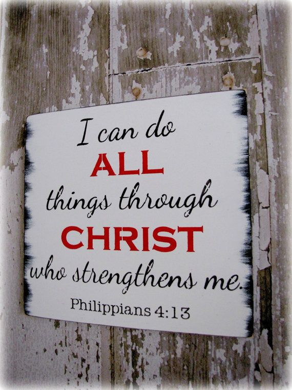 Typography Wall Decor- All Things Through Christ- Philippians 4:13 ...