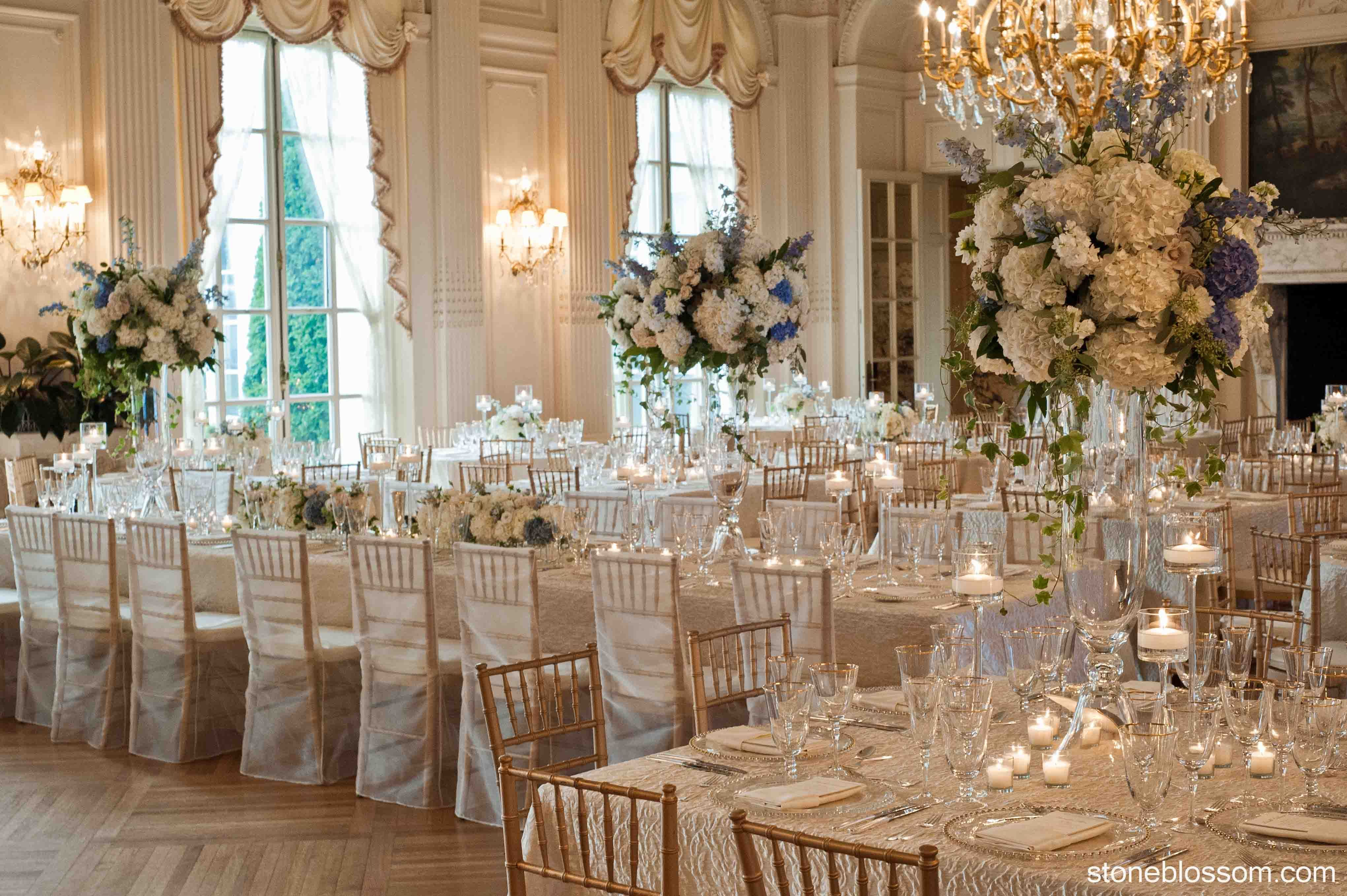 Tavolo Reception ~ Unique reception long and square tables at rosecliff mansion