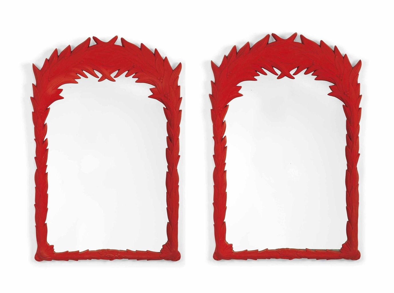 A Pair Of Red Painted Pier Mirrors Mirror Red Paint