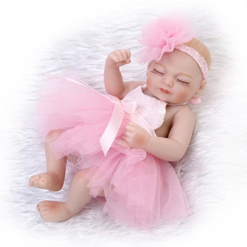 10/'/' Reborn Baby Doll Full Vinyl Silicone Newborn Girl Toy Bathing Gift Dolls