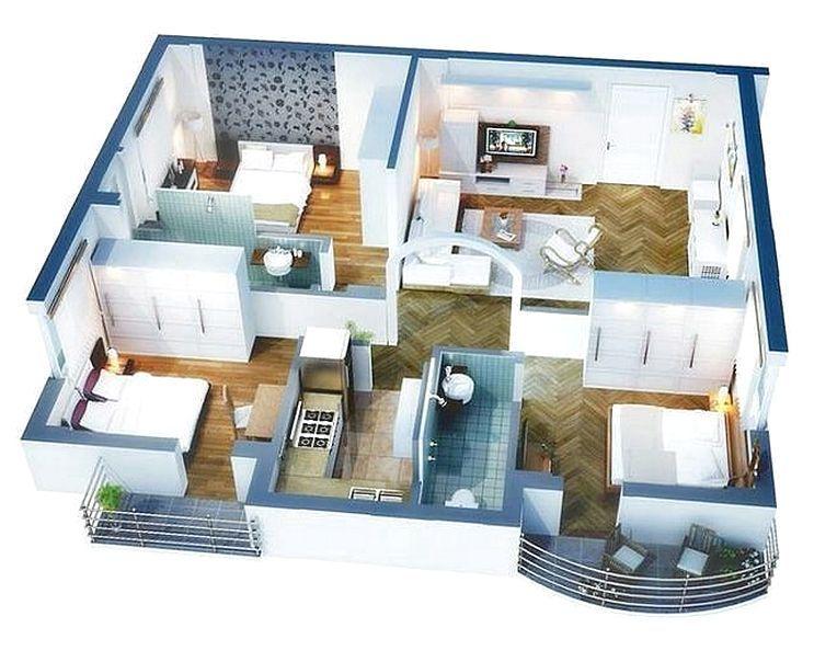 Denah Rumah Minimalis 3 Kamar Tidur 3D Terbaru | Desain rumah