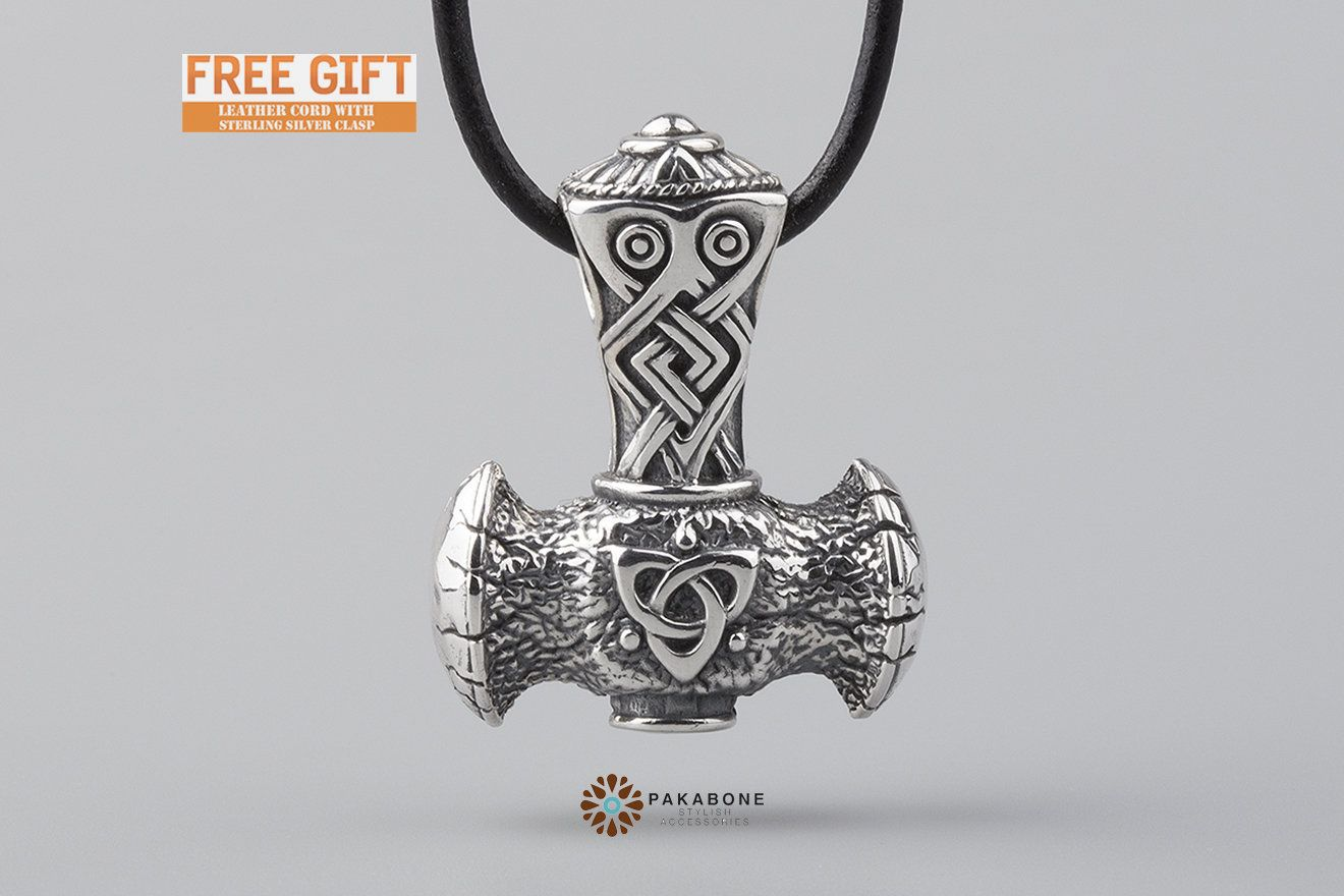 Norse Pagan Jewelry Sterling Silver and Copper Mjolnir Pendant Mixed Metal Thor/'s Hammer Necklace